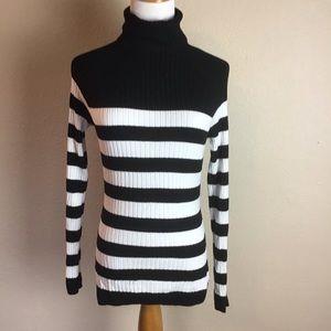 INC Black and White Striped turtle neck sweater